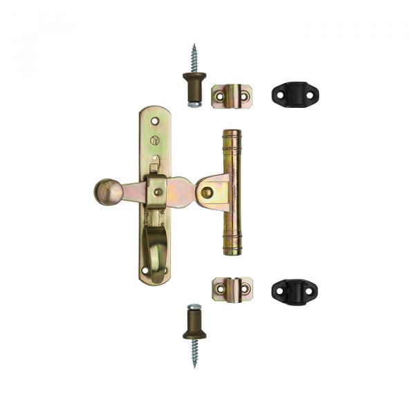 Оконная фурнитура стальная с желтым оцинкованным или черным покрытием, артикул 610SET.