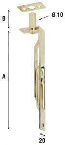 Задвижка для окна из полированной стали или стали с латунным покрытием, артикул 211