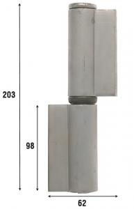 Петля приварная с подшипником, две закрытые створки 203 мм 1087