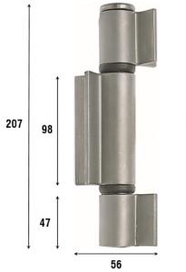 Петля приварная с подшипником, три открытые створки 207 мм, артикул 1089.