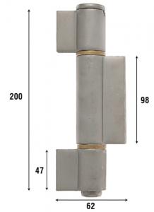 Петля приварная, три закрытые створки 200 мм 1090