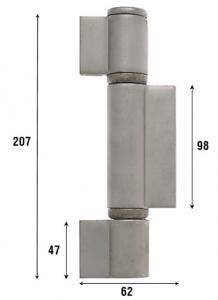 Петля приварная с подшипником, три закрытые створки 207 мм 1091