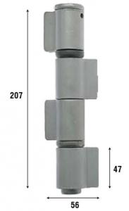 Петля приварная с подшипником, четыре закрытые створки 207 мм 1095