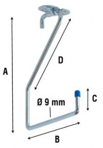 Крюк потолочный L-образный 4100